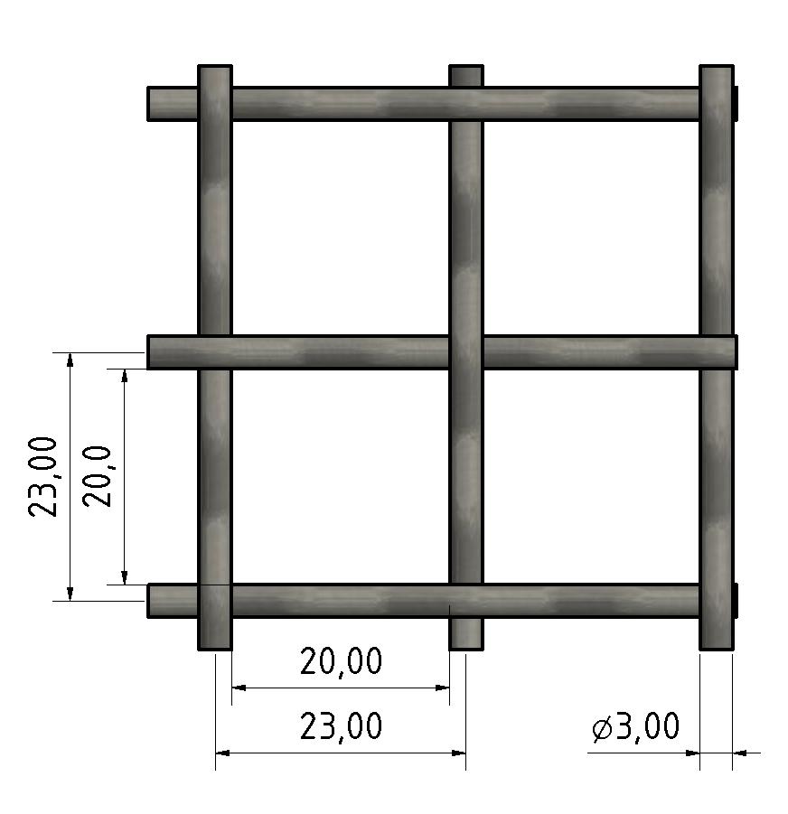 Wellengitter St 3x20, schwarz