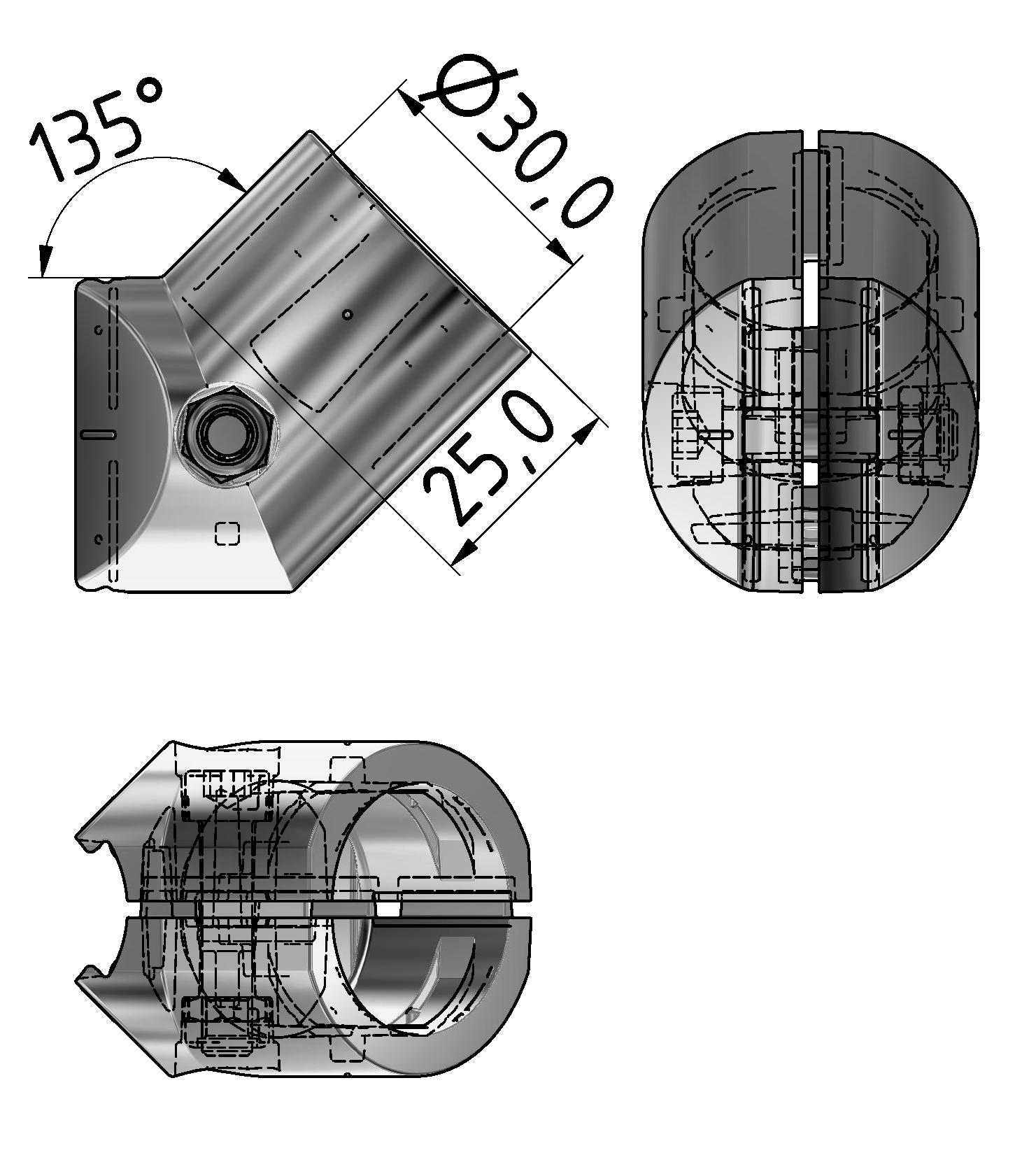 Verbindersatz D30-45°, natur