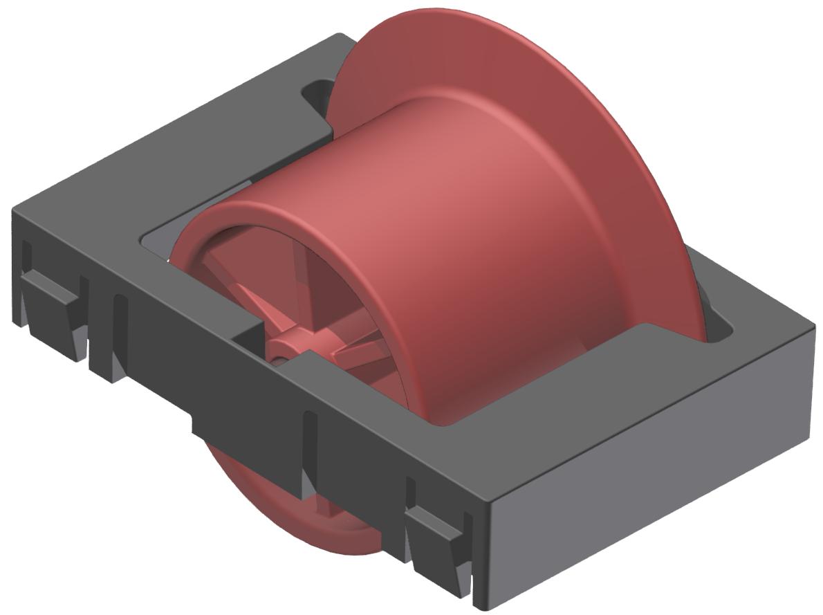 Rollenelement mit Spurkranz D28, rot-schwarz - Alu