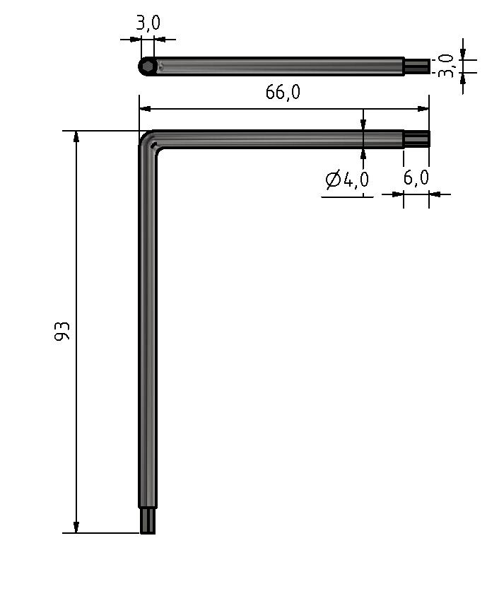 Winkel Schraubendreher Schlüsselweite 3 mm