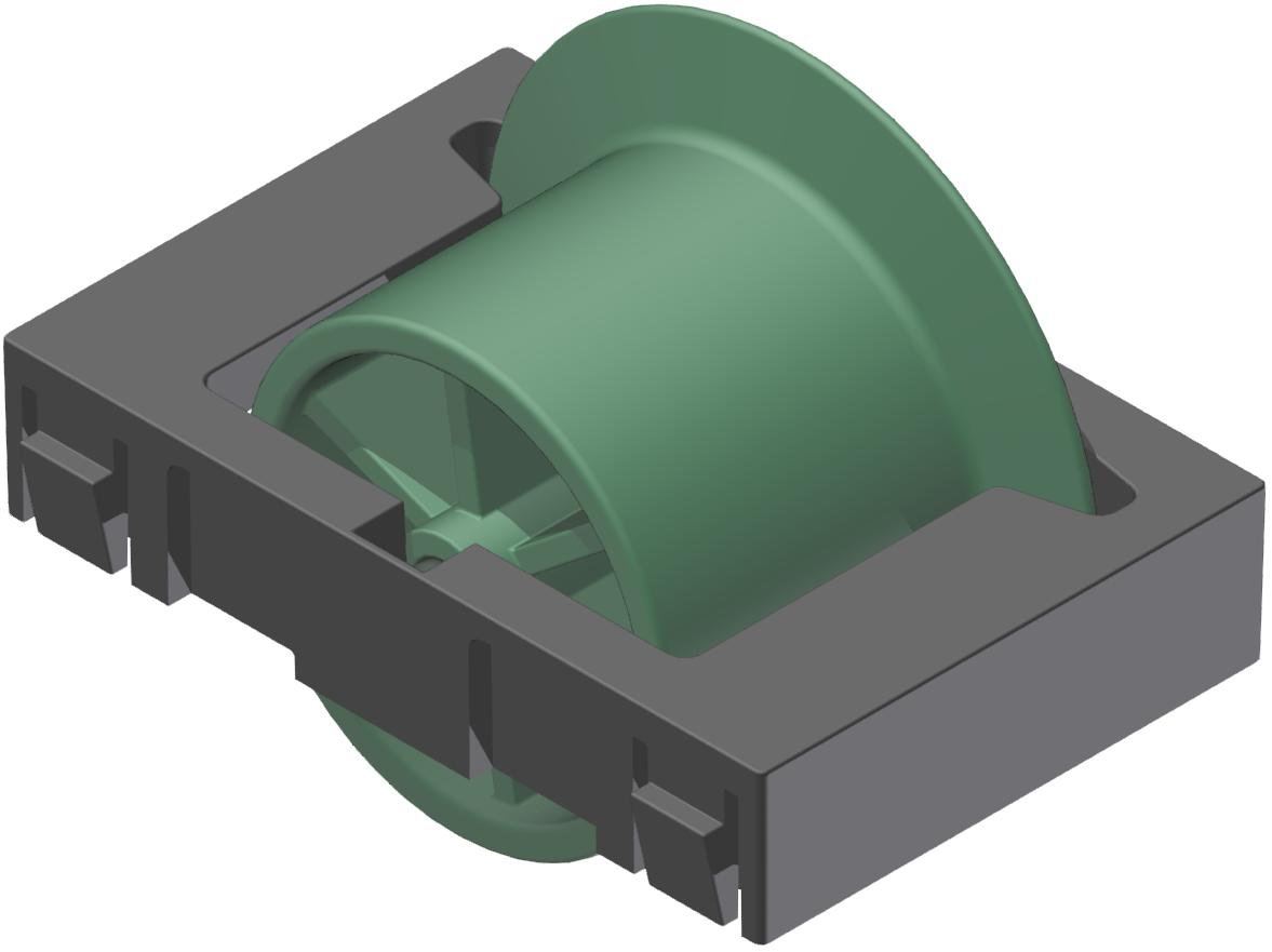 Rollenelement mit Spurkranz D28, grün-schwarz - Alu