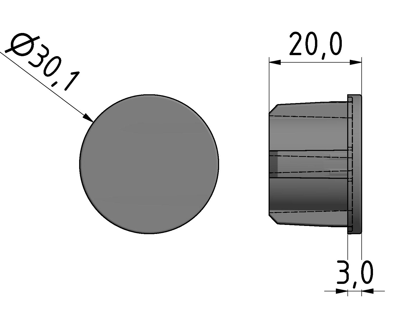 Abdeckkappe Rohr D30, grau