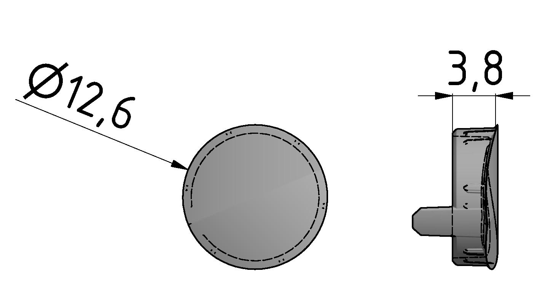 Abdeckkappe D30 R, grau