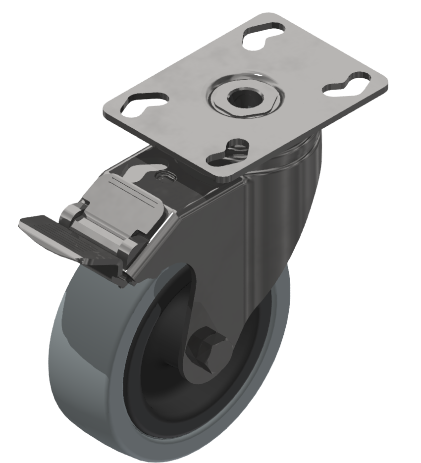 Castor D100 swivel with double-brake Fitting Plate, bright zinc-plated