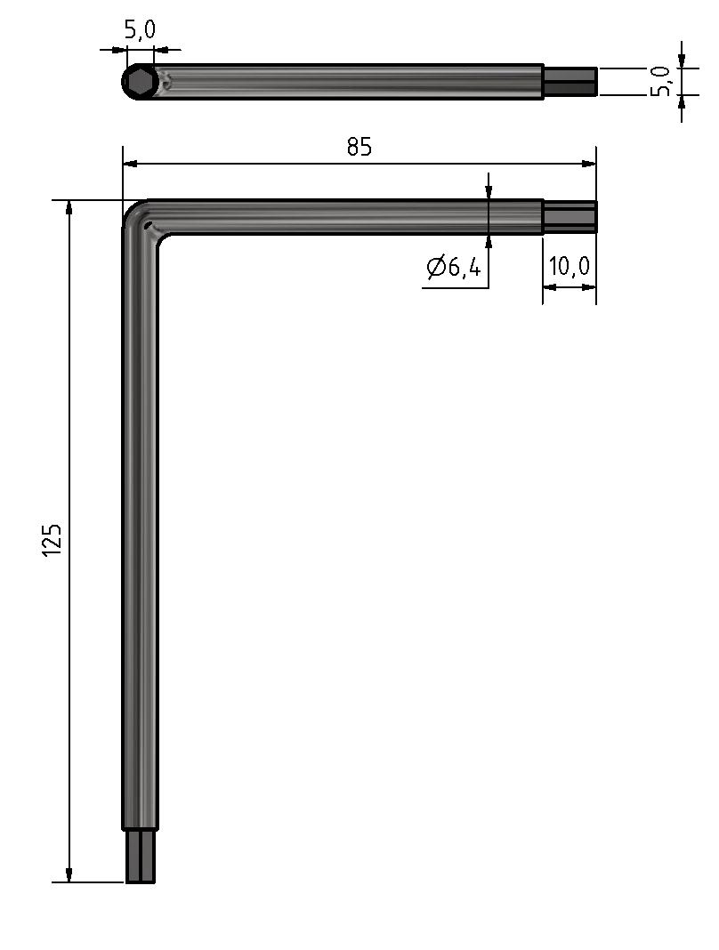 Winkel Schraubendreher Schlüsselweite 5 mm