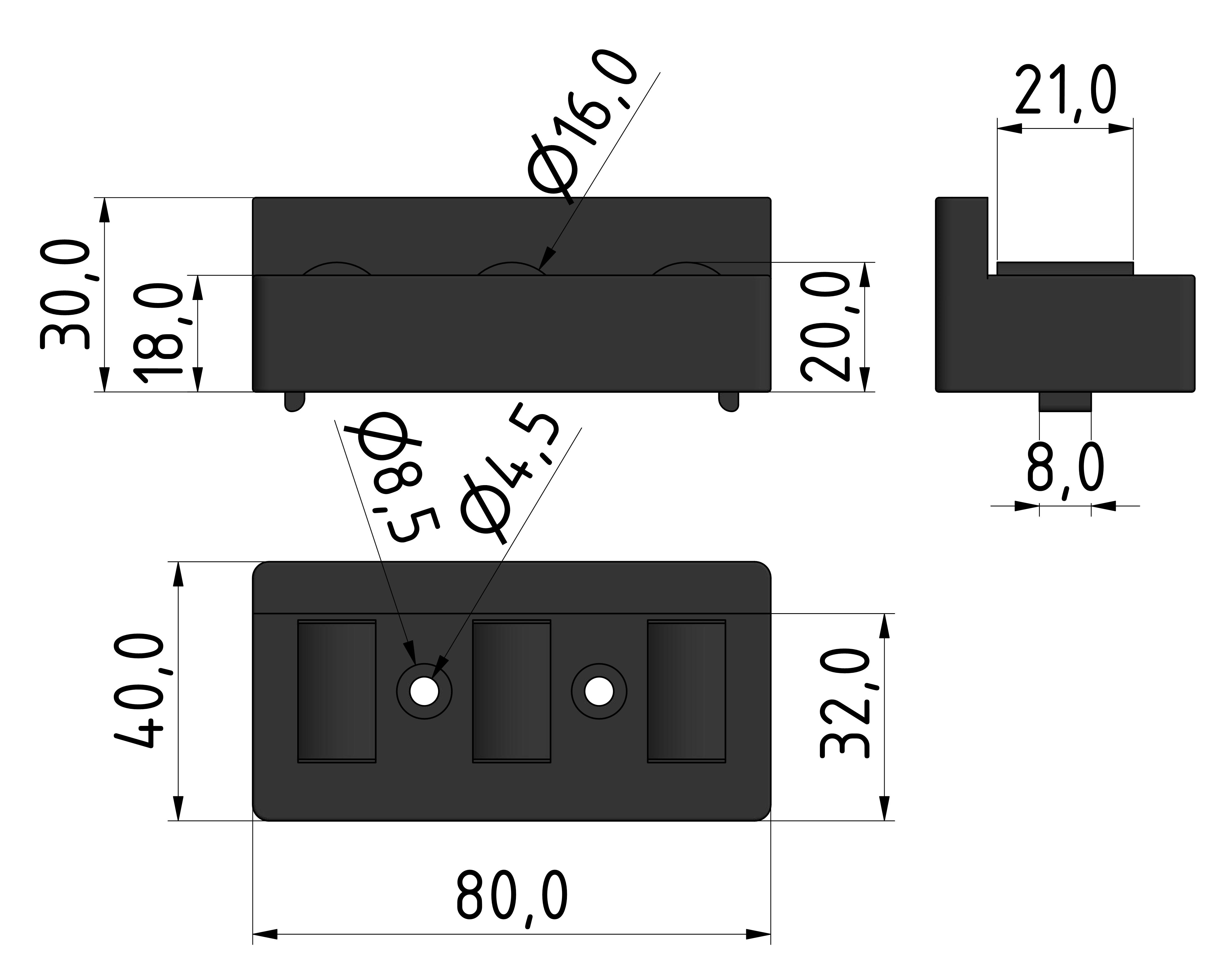 Rollenelement 80 mit Bordkante, schwarz - 10