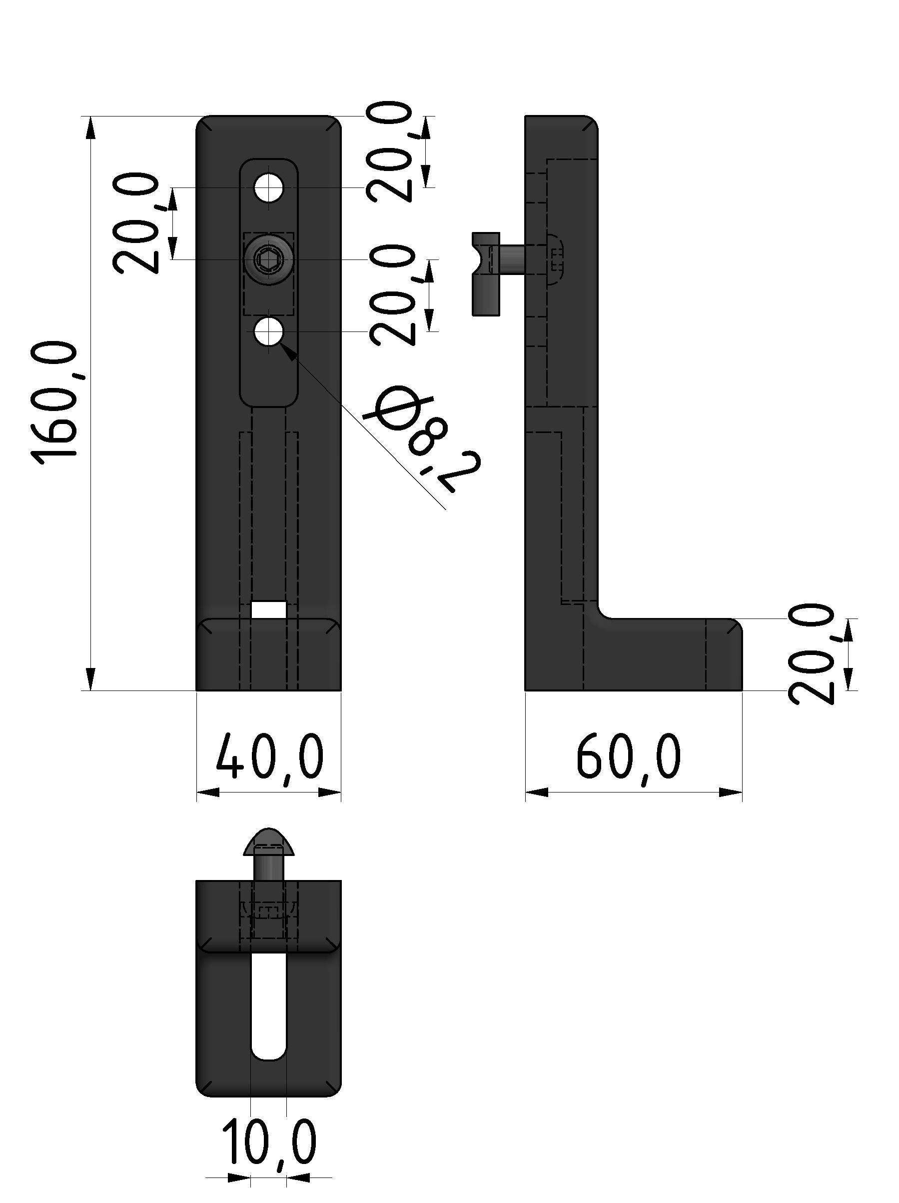 Winkelstellfuß 8 ohne Verstellung, schwarz