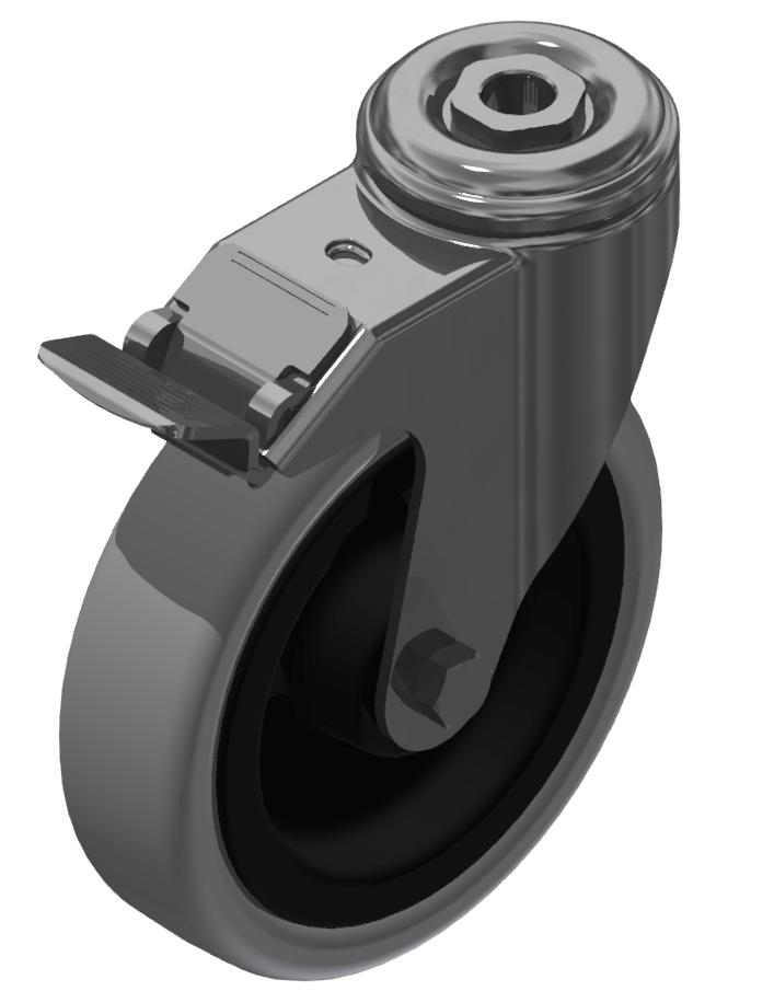 Lenkrolle D 125 mit Bremse, verzinkt