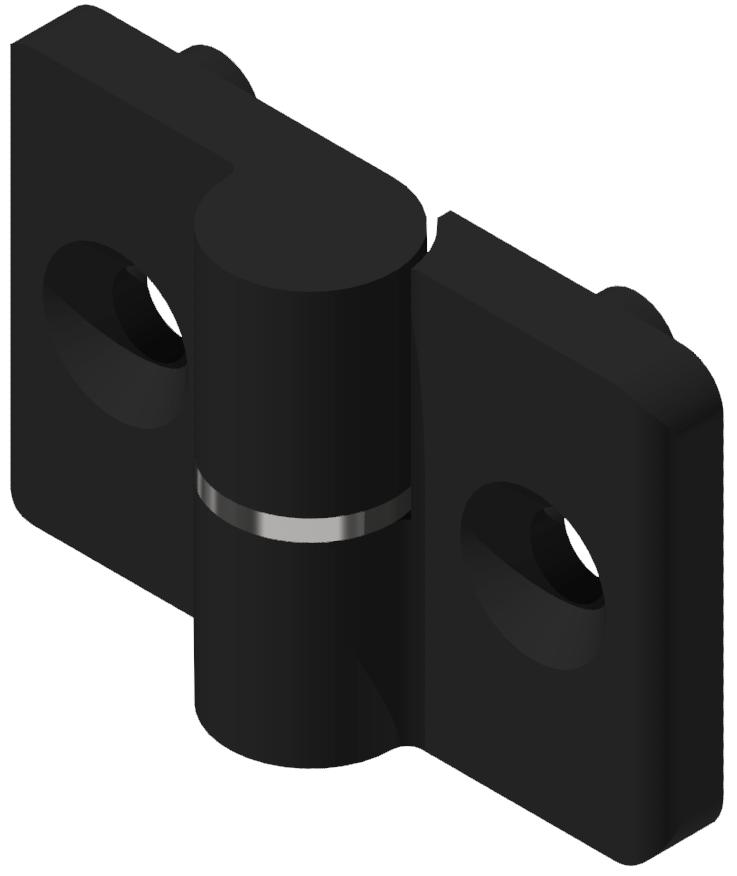 Scharnier 6 PA, rechts, schwarz
