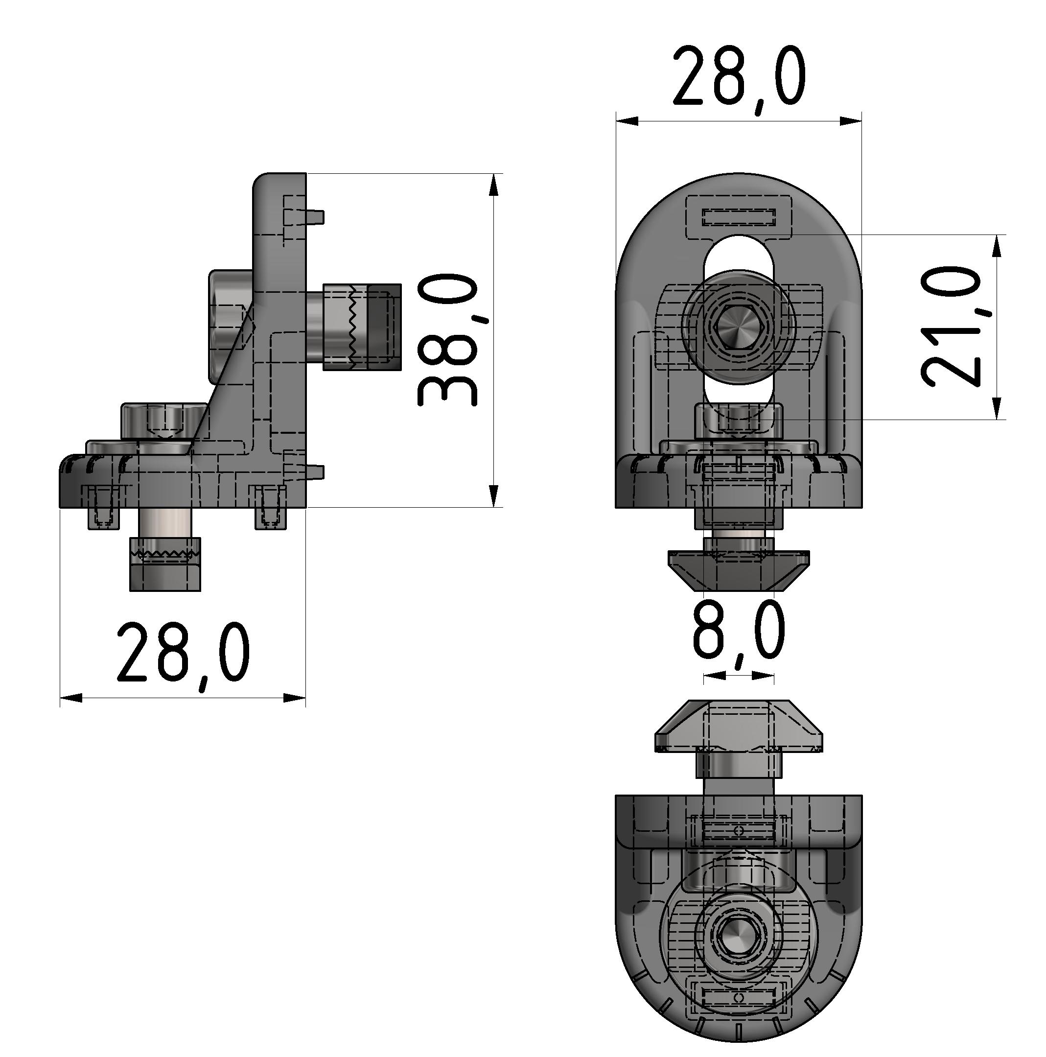 Drehwinkelsatz B 30, weißaluminium-10