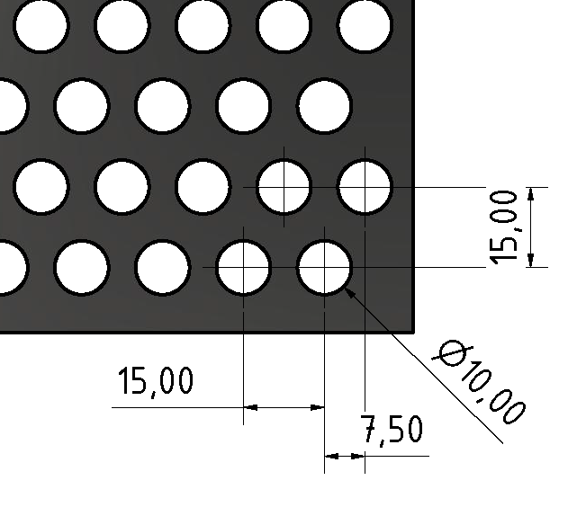 Lochblech AL 3 mm Rv 10-15, schwarz