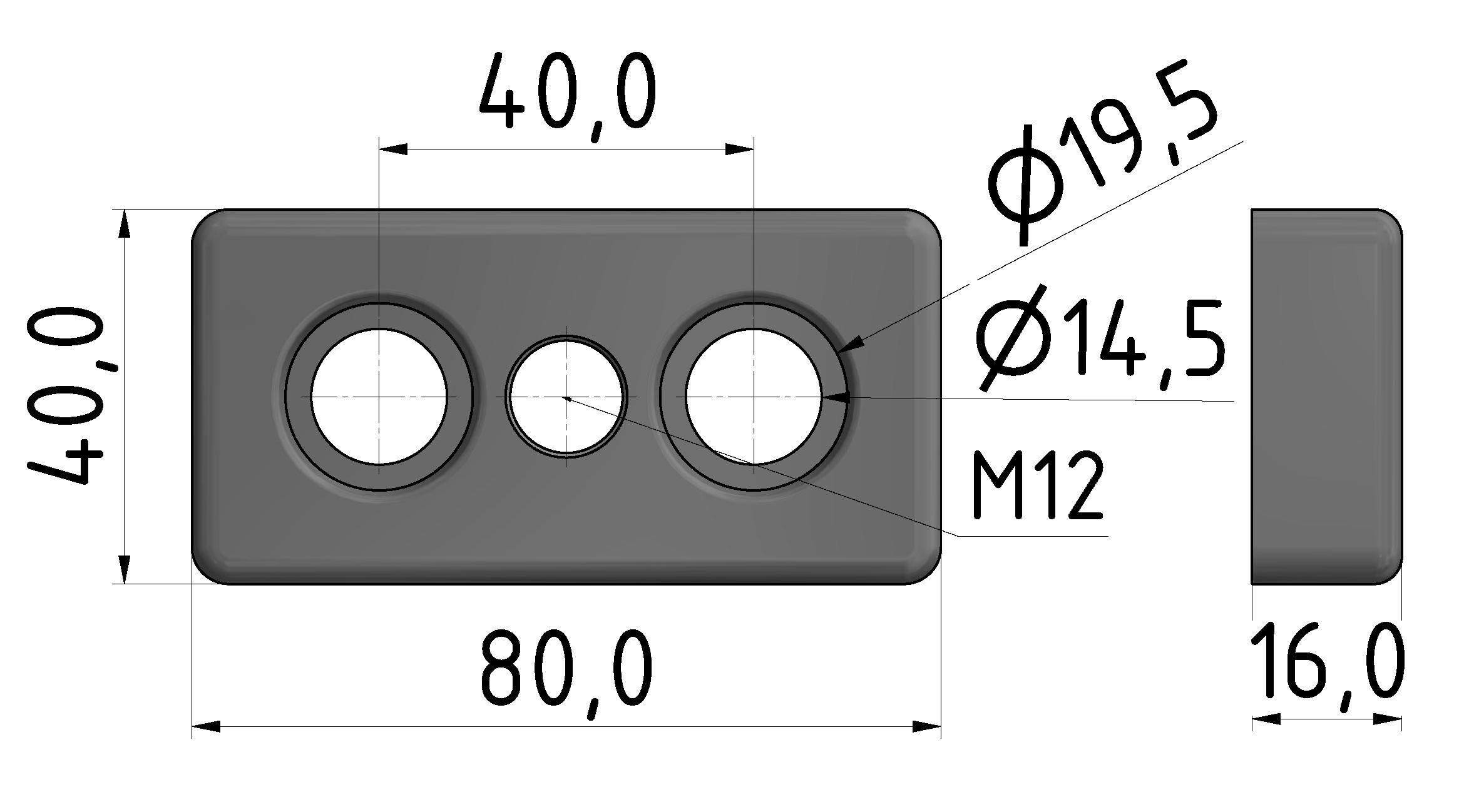 Fußplatte 40x80 M12, natur-10