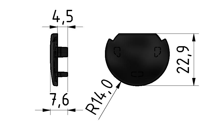 Abdeckkappe Rundrohr, schwarz - D28