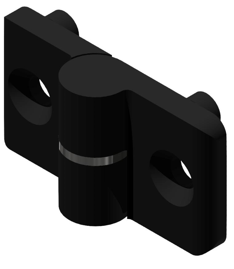 Scharnier 8 PA, links, schwarz