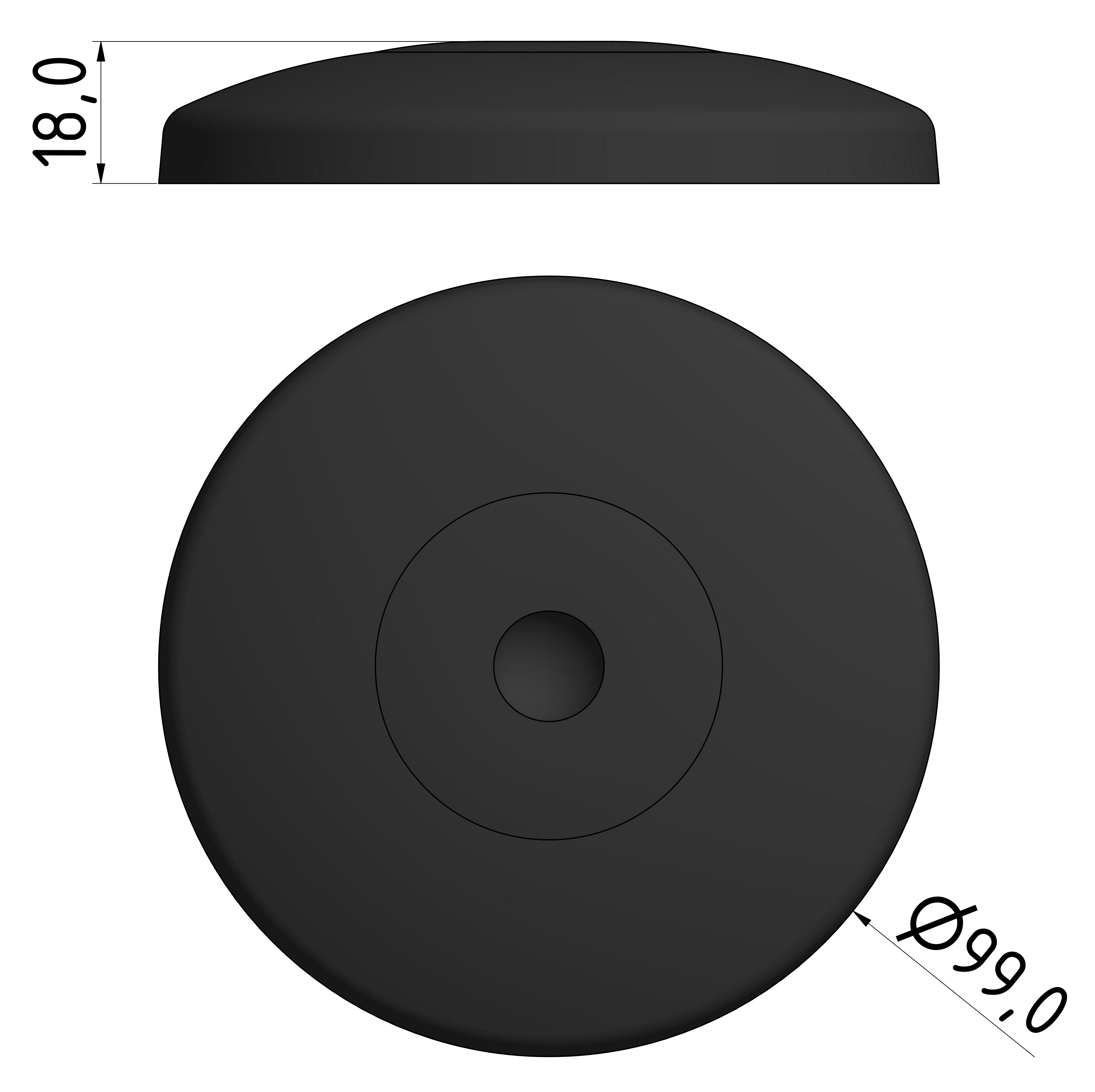 Teller A D100 PA, schwarz
