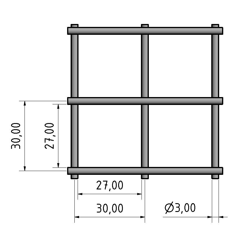Stahlgitter 3mm 30x30, Edelstahl