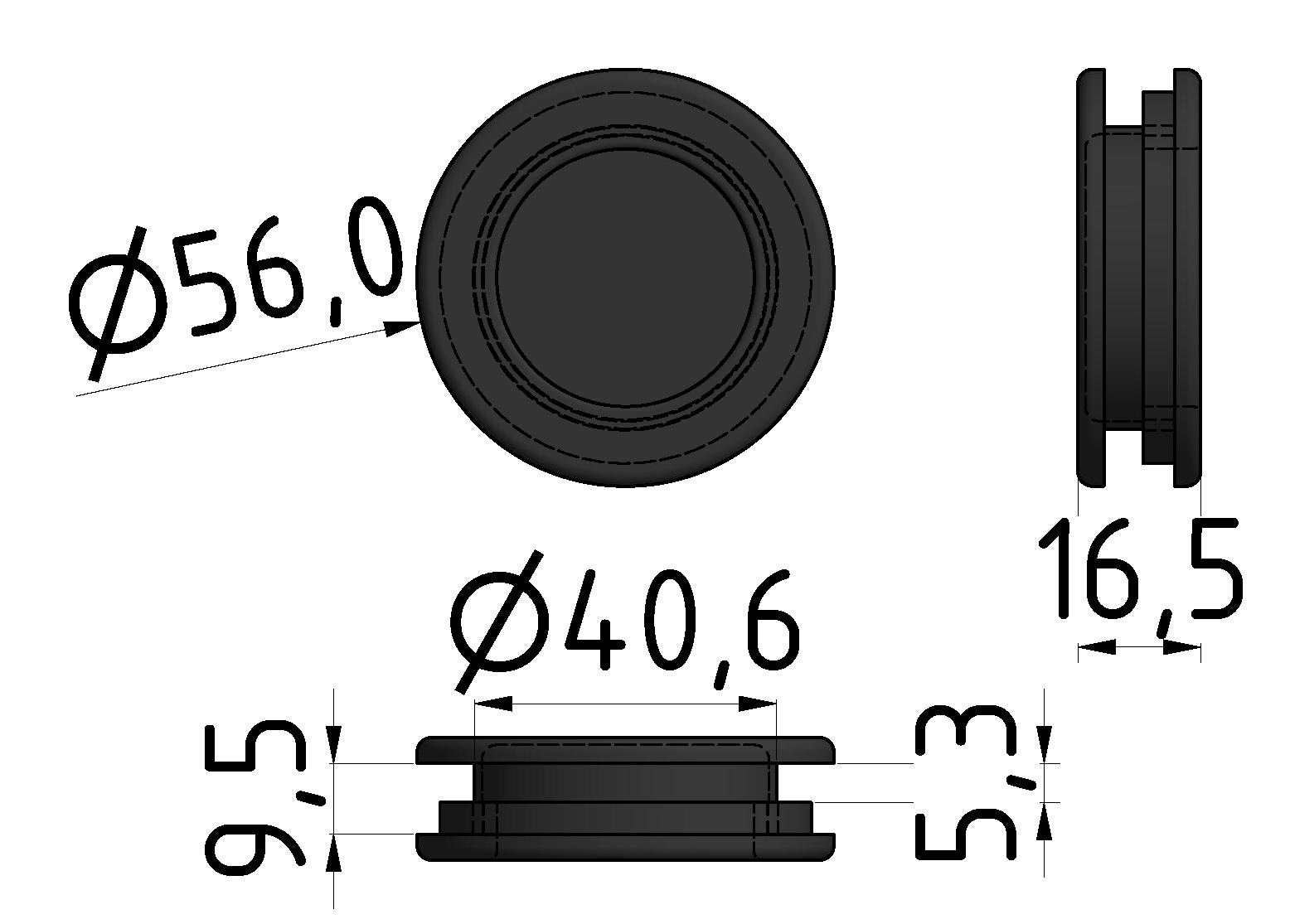 Griffmulde D50, schwarz