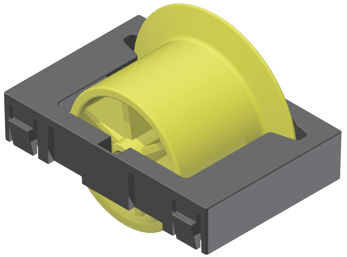 Rollenelement mit Spurkranz D28, gelb-schwarz - Alu