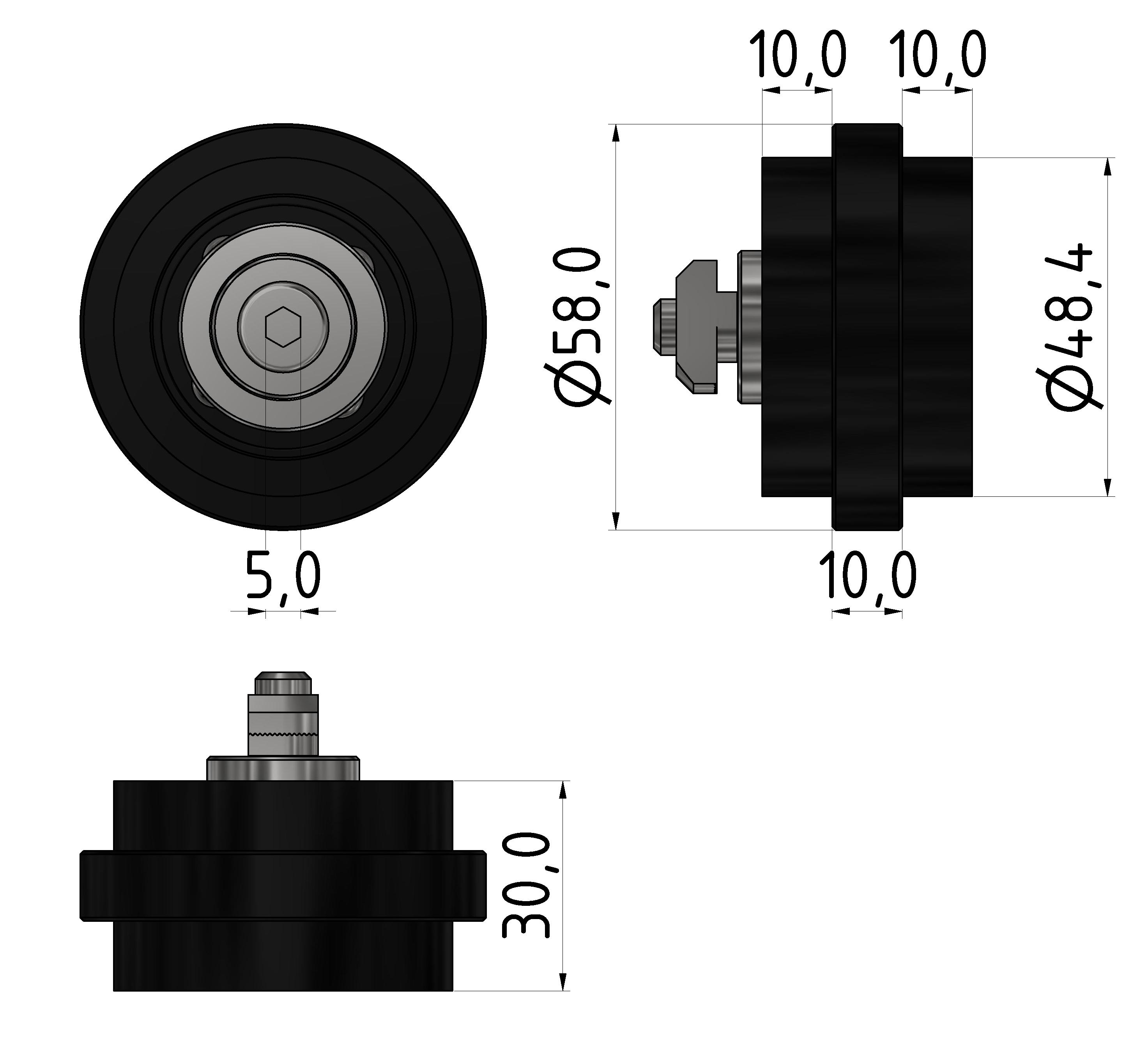 Rolle PA 58, schwarz - 10