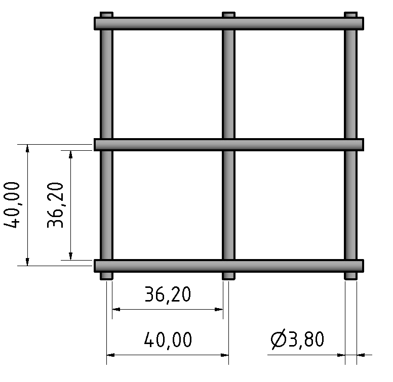 Stahlgitter 3,8 mm 40x40, verzinkt