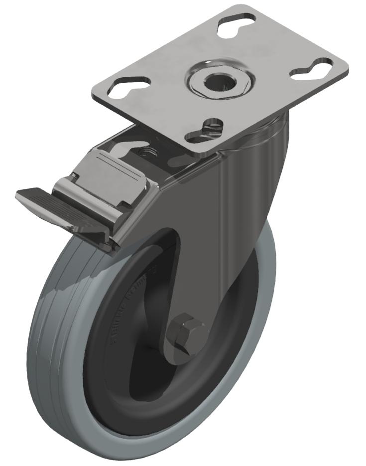 Lenkrolle D 125 mit Anbauflansch mit Bremse