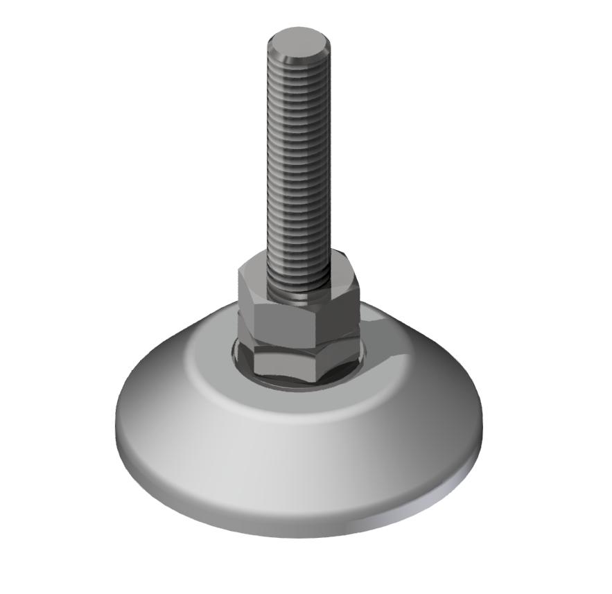 Stellfuß D60, M10x75, weißaluminium