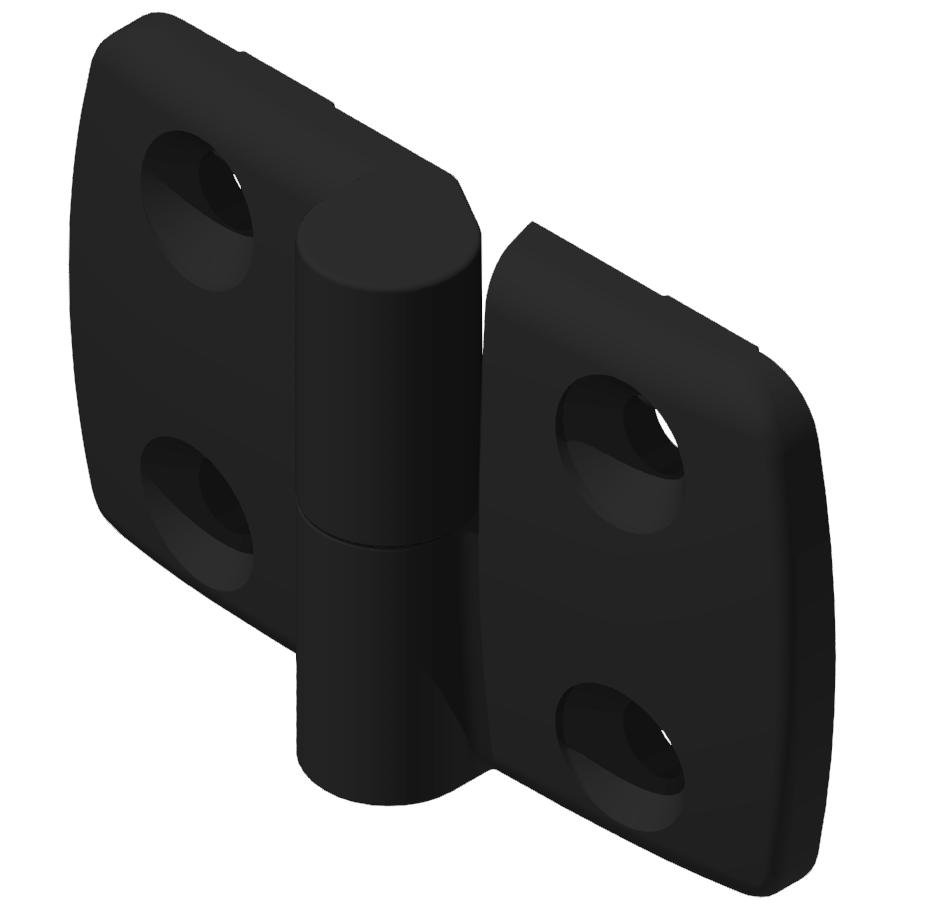 Kombischarnier rechts 40x40 PA, schwarz -10