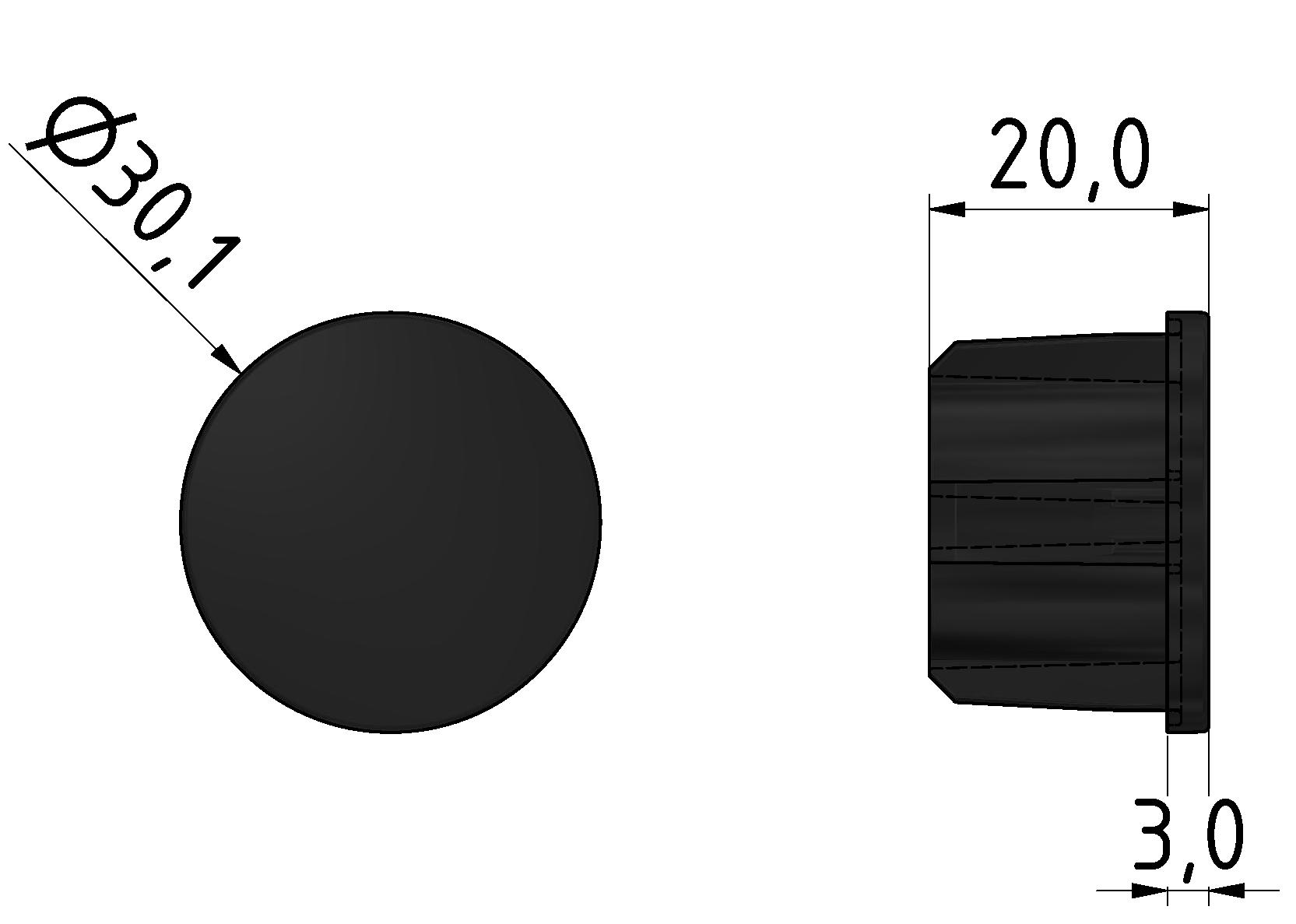 Abdeckkappe Rohr D30 ESD, schwarz