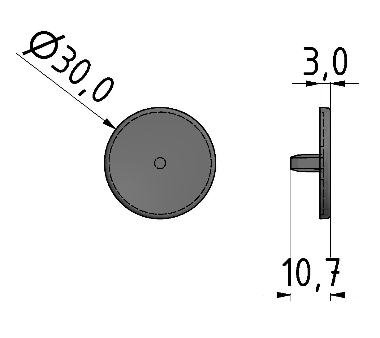 Abdeckkappe 6 D30, grau