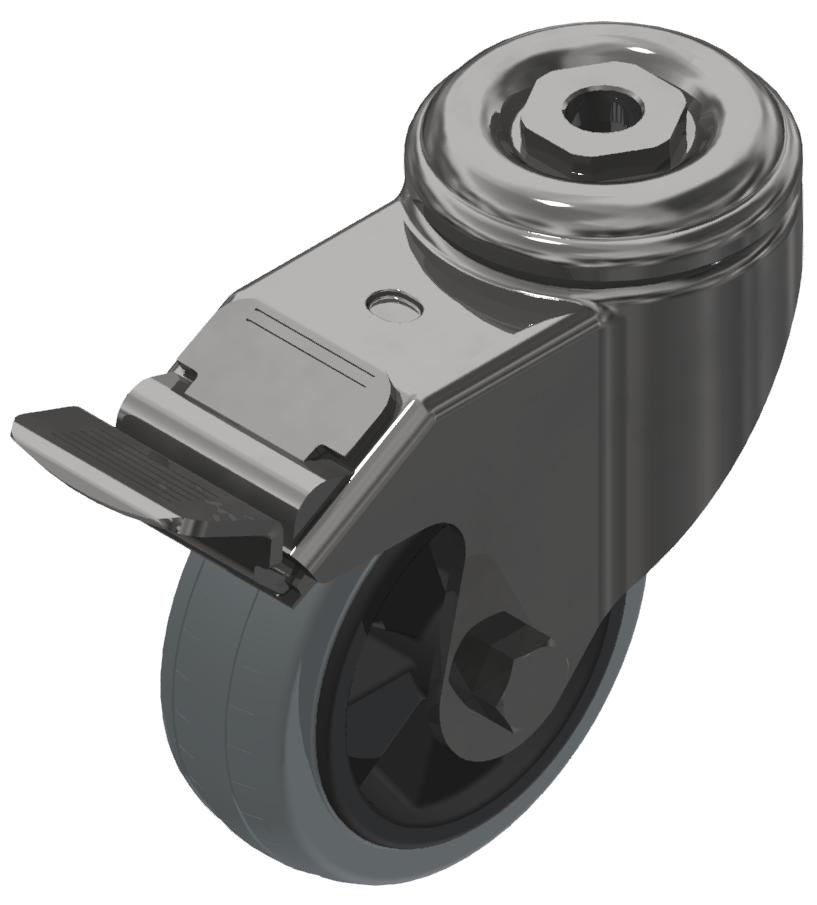 Lenkrolle D 80 mit Bremse, verzinkt