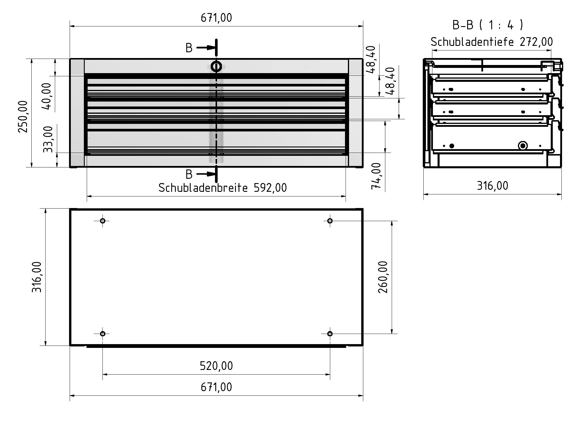 Schubladenhängeblock 3  B 670 H 250 T 316